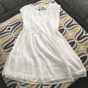 White cotton Old Navy lined dress with eyelet edge